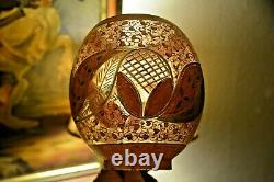 Magnificent pair of Oval Victorian Bohemian hand cut & painted oil lamp shade
