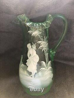 Mary Gregory Vaseline Glass Pitcher Victorian