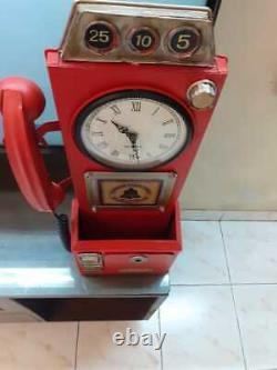 Metal Red Vintage Art Phone Booth Home Decor Table/Wall Mail Box Clock Keyholder