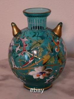 Moser 5 1/5 Blue Enamel Decorated posy Vase with Two Pointed Side Appendages