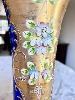 Moser Bohemian Czech Hand painted Cobalt Blue Gold & Enamel Vase 9