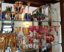 Moser Cranberry Bohemian Cabochon Champagne Coupe Gold Detailng