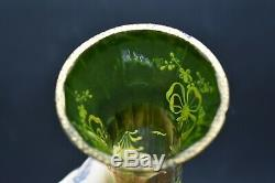 Moser Czech Green To Clear Enamelled Yellow Bows Flowers & gold 11 Vase