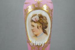 Moser Harrach Bohemian Victorian Lady Portrait Pink Cased Opaline & Gilt Vase