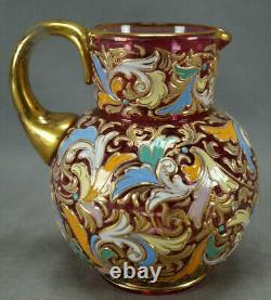 Moser Harrach Hand Enamelled Floral Scrollwork Cranberry Glass & Gold Pitcher