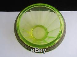 Moser Karlsbad Signed Vaseline Uranium Glass Vase With Gold Frieze