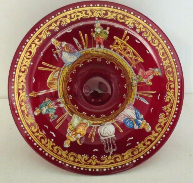 Moser Salviati Venetian Ruby Glass Hand Painted Enameled Figural Footed Bowl