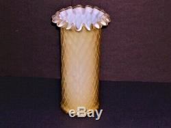 Mother-of-Pearl Satin Glass Cylindrical Vase Butterscotch Diamond Quilted