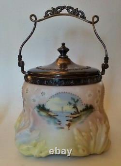 Mount Washington Cracker Jar, Opalware Satin Glass, Crown Milano Beading Marked