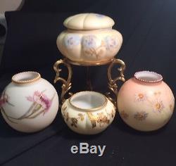 Mt Washington Antique Circa 1886 Rarest Peachblow Enameled Spider Mums Vase