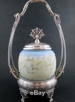 Mt. Washington Blue CROWN MILANO art glass Antique PICKLE CASTOR c. 1890's