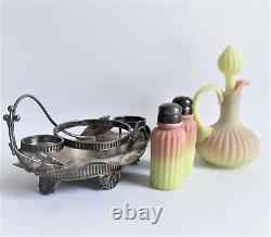 Mt Washington Burmese Condiment Set Cruet Salt Pepper Shaker Antique Art Glass