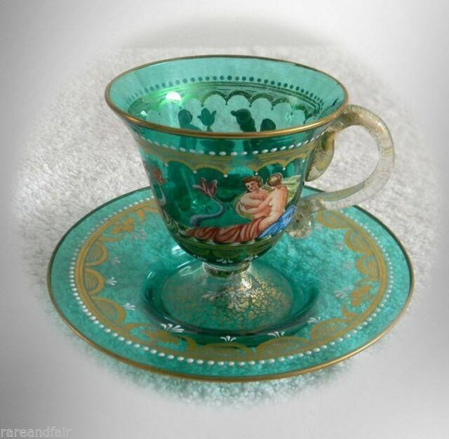 Murano Venetian Art Glass Cup And Saucer Victorian Scenes And Gold