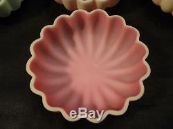 NICE SET/7 VICTORIAN PERIOD SATIN GLASS CANDY BOWLS / DISHES, c. 1880's