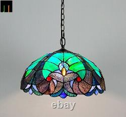 New JT Tiffany Stained Glass 16 Inch Shade Victorian Style Pendant Lamp Home Art