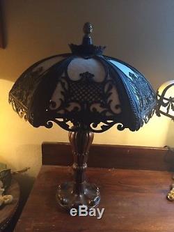 Nice! Victorian Art Nouveau Vintage Antique Convex Caramel Slag Glass Table Lamp