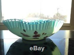 Nice Victorian Blue Art Glass Crimped Rim Brides Basket