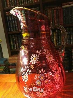 Northwood 12 Cranberry Enameled Lemonade/iced tea Pitcher