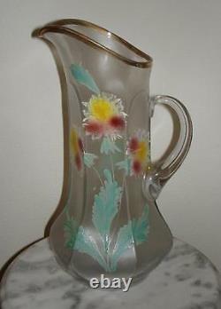 Northwood Tankard art glass Lemonade Pitcher with Enamel Floral Decoration