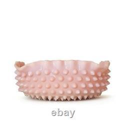 Old Fenton Rose Pastel Square Master Berry Bowl Hobnail Pink Milk Glass SCARCE