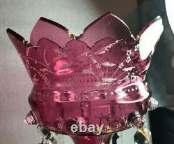 Old Victorian Gothic Cranberry Glass HP Enamel Mantle Lustre Prisms 12 Girandal