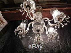 Old antique crystal glass chandelier ceiling fixture light lamp vintage art deco