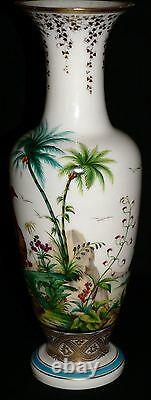 Opaline glass VASE, Baccarat, Jean-Francois Robert, c1850, Ostrich, Ibis, 17.5t