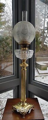 Original Victorian Art Nouveau Glass Oil Lamp Shade Floral Duplex 4 Acid Etched