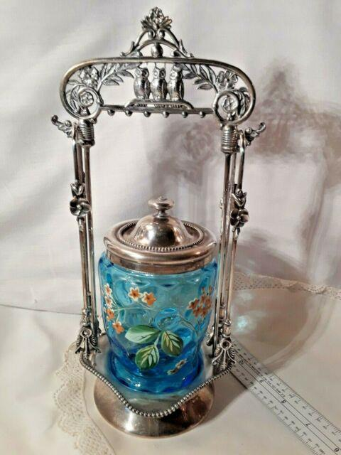 Owls On Top! Antique Pickle Castor Aqua Dotted Glass Enameled Insert