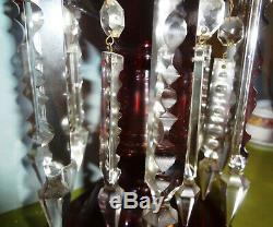 PAIR- MONUMENTAL c1860 MOSER ART GLASS deep 14 RUBY LUSTRES-32 CUT SPEAR PRISMS