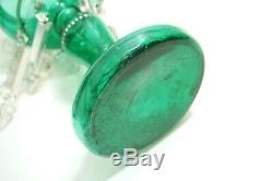 PAIR OF ANTIQUE VICTORIAN EMERALD GREEN GLASS LUSTRES With PRISMS BOHEMIAN CZECH