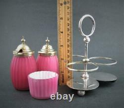 PINK cased RIBBED Satin Art GLASS antique CONDIMENT Set WB&Co Sheffield A1