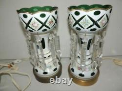 PR WHITE CUT TO GREEN GLASS HAND PAINTED ELECTRIC MANTLE LUSTERS With CRYSTALS