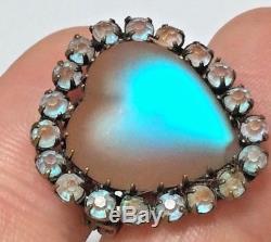 PRISTINE 1800'S Antique Victorian Saphiret ART Glass Heart Shaped Brooch / PIN