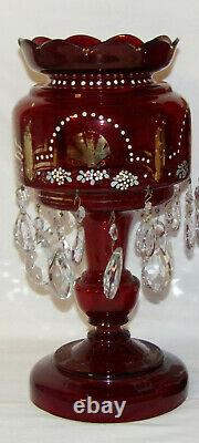 Pair Antique Cranberry Glass Lusters Large 14 Lusters w Double Row Prisms