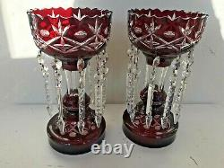 Pair Antique Ruby Mantle Lusters Red Cut 2 Clear Dangle Prism Bohemian Victorian