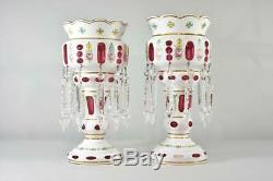 Pair Antique Victorian Mantle Lusters Bohemian Cut To Cranberry Hand Blown