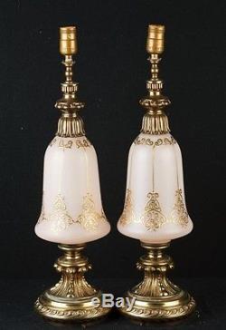 Pair French Art Nouveau Opaline Glass Table Lamps Light