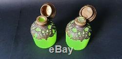 Pair French Opaline Baccarat Jade Uranium Green Glass Lidded Scent Bottles a/f