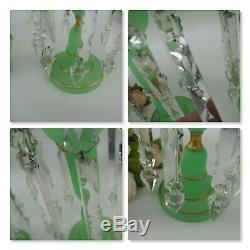 Pair Green Opaque Uranium Glass Tulip Shaped Mantle Lustre Vases Victorian