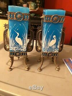 Pair Mt. Washington Herron Hand Painted Blue / Silver Plate Glass Vases Enamel 9