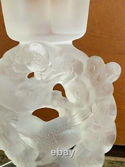Pair Of Lalique France Mesanges Frosted Crystal Birds Candle Holders Vintage