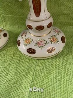 Pair Of Large Moser Czech Bohemian White To Cranberry 10 Prism Mantle Lustres