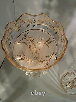 Pair -Pink Glass Lusters Gold and White Painted Floral Design Frost Flute 12.5