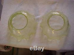 Pair Victorian Light Green Swirl Art Glass Kerosene Oil Gas Lamp Shades 4 Fiter