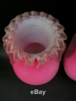Pair Victorian Pink Satin Glass Vases with Applied Handles Ruffled Rim