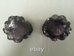 Pair Victorian Purple and Clear Glass Organic Art Nouveau Hyacinth Bulb Vases