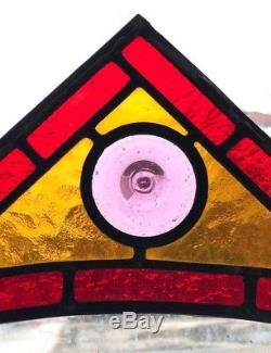 Pair Vintage Leaded Stained Glass Corner Panels Red, Yellow & Lavender Roundel