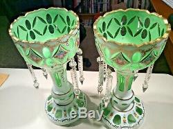 Pair Vtg. Bohemian Cut Glass Overlay Decorated Mantle Lusters with Crystal Prisms