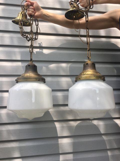 Pair Vtg Victorian Art Deco Antique Milk Glass Ceiling Light Fixture Chandelier